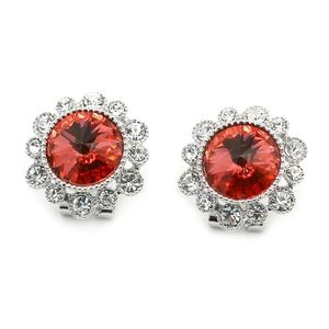 Silver big diamond flowers earrings